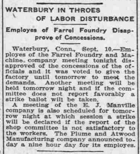 Waterbury in Throes of Labor Disturbance