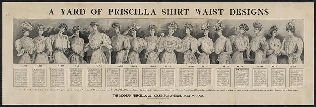 Pre-war advertisement for sewing patterns for shirt waist designs