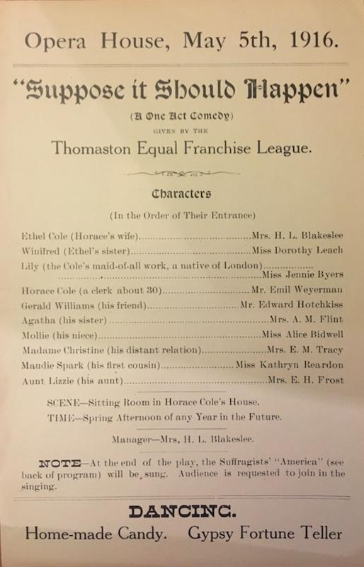 Thomaston Equal Franchise League Production Program (Front and Back)