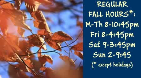 Fall Hours for the Library