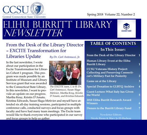 The Library's Spring 2018 Newsletter - Now available!