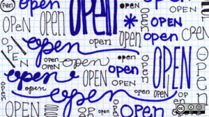 "The word ""Open"" written over and over"