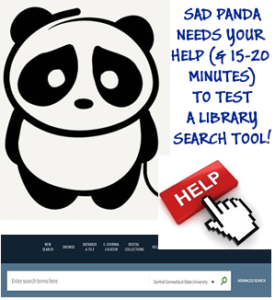 Sad panda says volunteer for library search usability testing March 20-27!