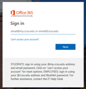 A Login Dialog Box from the CCSU-based authentication to CentralSearch and databases