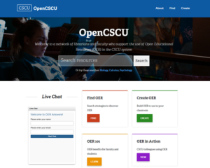 OpenCSCU website features live librarian chat to help you discover OERs in your subject area