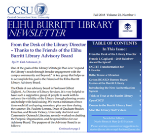 Library Fall 2018 Newsletter