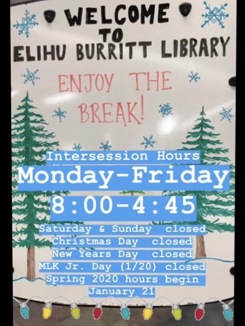 Winter Intersession hours are Monday through Friday, 8am-4:45pm