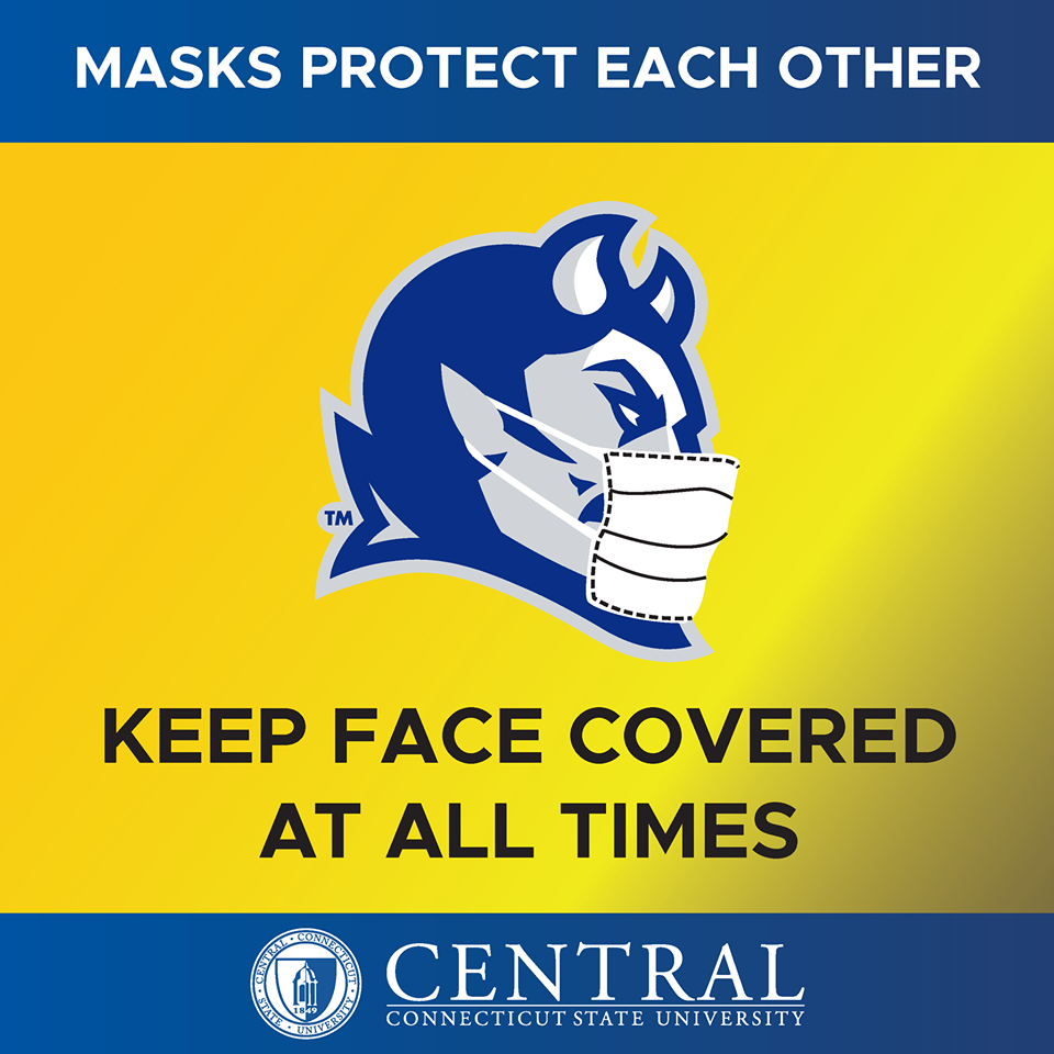 Illustration - Masks Protect Each Other - Keep Face Covered at ALL Times at CCSU