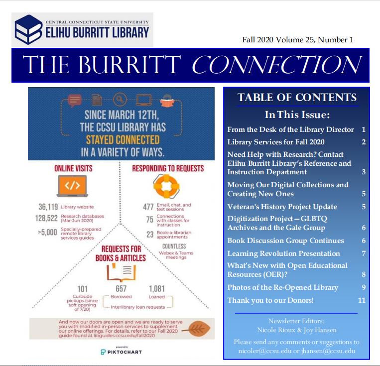 Fall 2020 Library Newsletter frontpage image